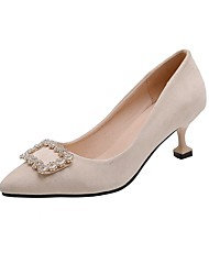 cheap -Women's Heels Flared Heel Pointed Toe Rhinestone Synthetics Spring &  Fall Black / Beige