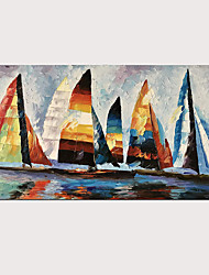 cheap -Hand Painted Abstract Knife Oil Painting Colorful Boats on Canvas with Stretched Frame for Home Decor Ready to Hang