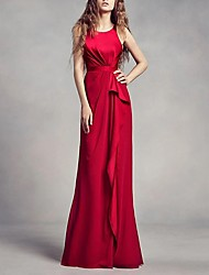 cheap -A-Line Jewel Neck Floor Length Satin Regular Straps Romantic Plus Size / Black / Red Wedding Dresses with Split Front 2020