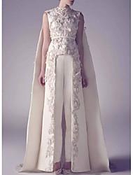 cheap -Jumpsuits Jewel Neck Watteau Train Satin Regular Straps Romantic Plus Size / Modern / Cape Wedding Dresses with Appliques 2020
