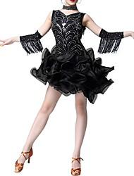 cheap -Latin Dance Dresses Women's Performance Polyester Tassel / Cascading Ruffles / Paillette Dress