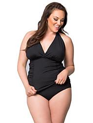 abordables -Femme Basique Noir Bleu Licou Taille haute Une-pièce Maillots de Bain - Couleur Pleine Lacet L XL XXL Noir