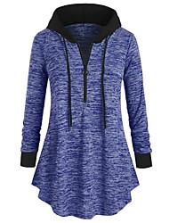cheap -Women's Hoodie Color Block Basic Blue Purple Blushing Pink Gray L XL XXL XXXL XXXXL XXXXXL