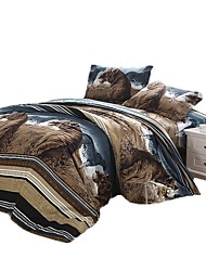 cheap -Duvet Cover Sets 3 Piece Linen / Cotton Cartoon Brown Printed Christmas