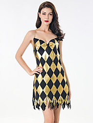 cheap -The Great Gatsby Retro Vintage 1920s Summer Flapper Dress Dress Women's Sequins Tassel Fringe Costume Black+Golden Vintage Cosplay Event / Party Sleeveless Knee Length