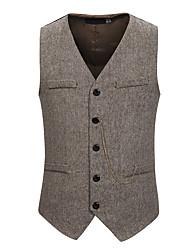 cheap -Men's Vest V Neck Polyester Black / Gray / Khaki