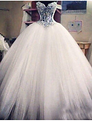 cheap -Ball Gown Wedding Dresses Strapless Floor Length Lace Tulle Sleeveless Formal Casual Plus Size with Crystals Appliques 2020