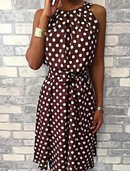 cheap -Women's Elegant Slim Sheath Dress - Polka Dot Black Wine Yellow S M L XL