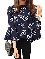cheap -Women's Holiday Going out Blouse - Geometric Navy Blue
