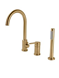 cheap -Bathtub Faucet - Contemporary Nickel Brushed Roman Tub Ceramic Valve Bath Shower Mixer Taps / Single Handle Three Holes