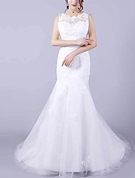 cheap -Mermaid / Trumpet Jewel Neck Floor Length Lace Sleeveless Casual Plus Size Wedding Dresses with Lace Insert 2020