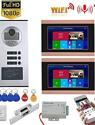 cheap -7inch Record Wired Wifi Video Intercom 2 Apartments Doorphone System with  RFID 1080P Doorbell Camera NO Electric Strike Door Lock