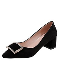 cheap -Women's Heels Chunky Heel Pointed Toe Rhinestone Synthetics Spring &  Fall Black / Beige