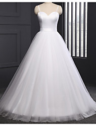 cheap -A-Line V Neck Sweep / Brush Train Lace / Tulle Spaghetti Strap Formal Plus Size Wedding Dresses with Lace Insert 2020