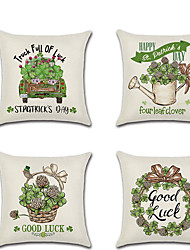 cheap -Set of 4 Linen Pillow Cover Four Green Hakusa in The Spring Rustic Holiday Throw Pillow
