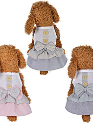 cheap -Dog Cat Dress Bowknot Flower Leisure Sweet Dog Clothes Blue Pink Gray Costume Polyester Cotton XS S M L XL