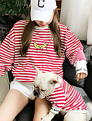 cheap -Dog Shirt / T-Shirt Matching Outfits Striped Fruit Sports Stripes Sports Casual / Daily Dog Clothes Breathable Black Red Blue Costume Cotton Women M S M L XL XXL