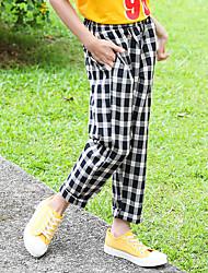 cheap -Kids Girls' Basic Plaid Pants Black