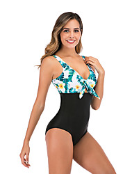 cheap -Women's Basic Orange Blue Brown Bandeau Cheeky High Waist Bikini One-piece Swimwear - Floral Geometric Lace up Print S M L Orange