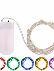 Недорогие -1шт кнопки на батарейках светодиодные фонари серебряный медный провод 2 м 20led фея светодиодные праздничные украшения на рождественскую свадьбу