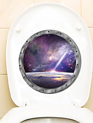 cheap -Outer Planet Technological Wall Stickers Out Space Galaxy Planet Bedroom Art Vinyl 3D Toilet Stickers Decal Room Decor