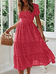 cheap -Women's Swing Dress Maxi long Dress - Short Sleeve Polka Dot Black Red Green S M L XL