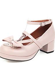 cheap -Women's Heels Chunky Heel Round Toe PU Spring &  Fall Black / Brown / White