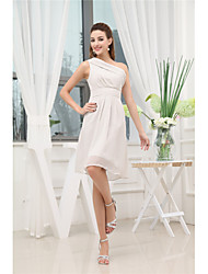 cheap -A-Line Elegant Party Wear Wedding Guest Cocktail Party Dress One Shoulder Sleeveless Knee Length Chiffon with Pleats 2020