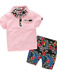 cheap -Kids Boys' Basic Floral Short Sleeve Clothing Set White