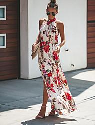 cheap -Women's Swing Dress - Geometric White Light gray S M L XL