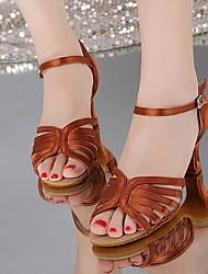 cheap -Women's Latin Shoes PU Heel Cuban Heel Dance Shoes Black / Camel / Gold