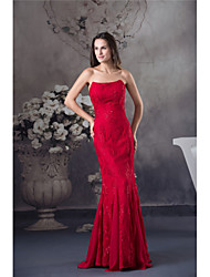 cheap -Mermaid / Trumpet Elegant Formal Evening Dress Strapless Sleeveless Floor Length Chiffon Lace with Beading 2021