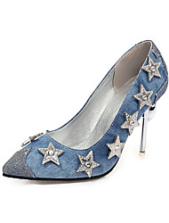 cheap -Women's Heels Crystal Sandals Stiletto Heel Pointed Toe Rhinestone / Sequin Denim / Synthetics Spring &  Fall Blue / Silver / Wedding / Party & Evening / 3-4 / Party & Evening
