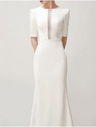 cheap -Mermaid / Trumpet Jewel Neck Sweep / Brush Train Satin Short Sleeve Formal / Vintage Plus Size Wedding Dresses with Draping 2020