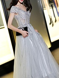 cheap -A-Line Hot Grey Engagement Formal Evening Dress V Neck Short Sleeve Floor Length Polyester with Appliques 2020