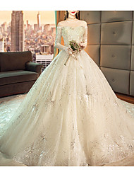 cheap -A-Line V Neck Watteau Train Lace / Tulle Sleeveless Casual Plus Size / Illusion Sleeve Wedding Dresses with Lace Insert 2020