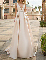 cheap -A-Line Wedding Dresses V Neck Floor Length Polyester Sleeveless Formal Plus Size with Draping 2020