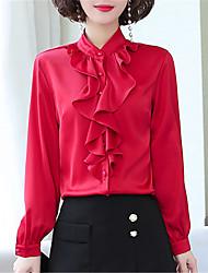 cheap -Women's Daily Work Shirt - Solid Colored Ruffle Black
