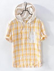 cheap -Men's Plaid T-shirt Daily Hooded Blue / Yellow / Short Sleeve