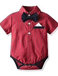 cheap -Baby Boys' Basic Black & Red / Santa Claus Striped Short Sleeves Bodysuit Red