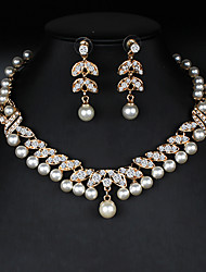 cheap -Women's Gold Hoop Earrings Necklace Bridal Jewelry Sets Classic Stylish Basic Elegant Imitation Pearl Earrings Jewelry Gold For Wedding Party Engagement Two-piece Suit