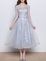 cheap -A-Line Jewel Neck Tea Length Polyester Elegant Cocktail Party / Wedding Guest Dress with Appliques / Bow(s) 2020