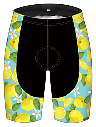 cheap -21Grams Men's Cycling Shorts Bike Pants / Trousers Padded Shorts / Chamois Bottoms Breathable 3D Pad Quick Dry Sports Fruit Lemon Black / Yellow Mountain Bike MTB Road Bike Cycling Clothing Apparel