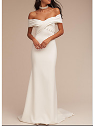 cheap -Mermaid / Trumpet Off Shoulder Sweep / Brush Train Satin Regular Straps Casual Plus Size Wedding Dresses with Appliques 2020