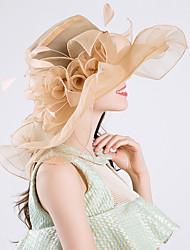 Недорогие -Королева Елизавета Одри Хепберн Ретро Кентукки шляпа дерби Шляпа чародея Жен. органза Костюм шляпа Лиловый / Розовый / Желтый Винтаж Косплей Для вечеринок Вечерние / Шапки / Шапки