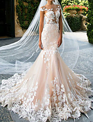 cheap -Mermaid / Trumpet Jewel Neck Sweep / Brush Train Lace / Tulle Regular Straps Casual Illusion Detail Wedding Dresses with Lace Insert / Appliques 2020
