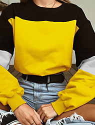 cheap -Women's Sweatshirt Color Block Basic Blue Red Yellow Blushing Pink Fuchsia Khaki Green Gray S M L