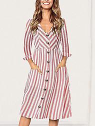 cheap -Women's Slim Sheath Dress - Striped V Neck Blushing Pink Yellow Light Blue S M L XL