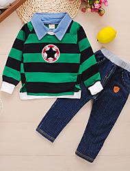 cheap -Baby Boys' Basic Striped Print Long Sleeve Long Long Clothing Set Green