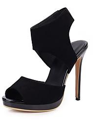 cheap -Women's Sandals Stiletto Heel Peep Toe Microfiber Classic Spring & Summer Black / Red / Pink / Wedding / Party & Evening